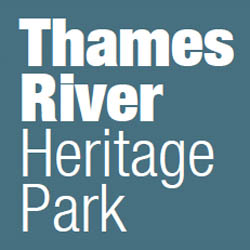 Logo. White text on light blue background. Thames River Heritage Park