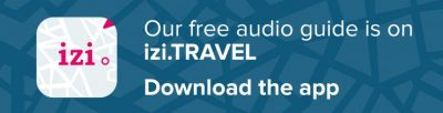 """Blue banner with izi.Travel logo and white text that says """"Our free audio guide is on izi.TRAVEL Download the app."""